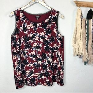 NWOT Simply Vera Burgundy Flowered Sleeve Blouse